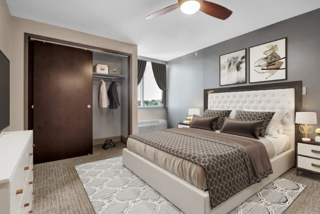 Independent living bedroom at the Senior Living facility in Pittsburgh PA